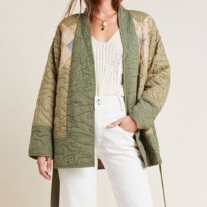 Anthropologie Quilted Patchwork Belted Kimono